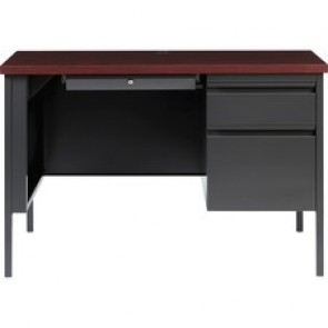 Lorell Fortress Series Mahogany Laminate Top Desk
