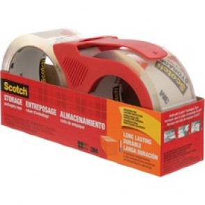 """Scotch Packaging Tape - 1.89""""  (48 mm)  Width x 54.7 yd  (50 m)  Length - Long Lasting, Adhesive - Dispenser Included - 2 / Pack - Clear"""