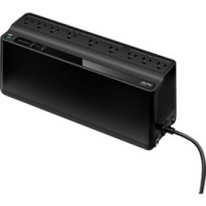 850VA APC Security Battery - 50 VA / 450 W backup battery power supply. 9 outputs (NEMA 5-15R): 6 UPS backup batteries with surge protection outlets, and 3 surge protection outlets. Two USB charging ports (2.4A shared) (NEMA 5-15P).
