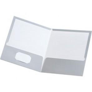 "Oxford Showfolio™ Twin Pocket Portfolio - Letter - 8 1/2"" x 11"" Sheet Size - 100 Sheet Capacity - 2 Pocket(s) - Gray - 8"