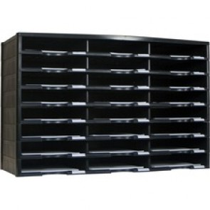Storex 24 Compartment Literature Sorter, Black