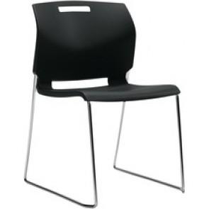 "Global Popcorn Armless Chair, Polypropylene Seat & Back - Black Polypropylene Seat - Black Polypropylene Back - Steel Frame - 20"" Width x 23.5"" Depth x 32.5"" Height"