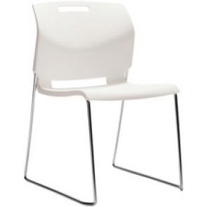 "Global Popcorn Armless Chair, Polypropylene Seat & Back - Ivory Polypropylene Seat - Ivory Polypropylene Back - Steel Frame - 20"" Width x 23.5"" Depth x 32.5"" Height"