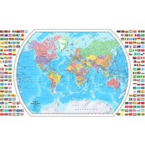 Replogle Globes 4 Feet World Map with Flags
