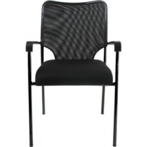 "Horizon Activ A19 Guest Chair - Black Foam Seat - Black Fabric Back - Black Frame - Four-legged Base - 17.5"" Seat Width x 18"" Seat Depth"