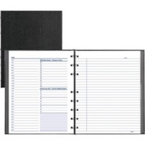 """Blueline NotePro Undated Daily Planner - Daily - 7:00 AM to 8:30 PM - Half-hourly - 1 Day Double Page Layout - White Sheet - Twin Wire - Paper - Black - 7.3"""" Height x 9.3"""" Width - Flexible, Project Planner Page, Schedule Section, Important Date, Storage"""