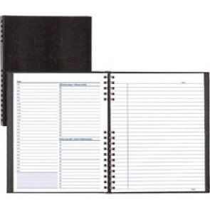 """Blueline NotePro Undated Daily Planner - Daily - White Sheet - Twin Wire - Paper - Black - 8.5"""" Height x 10.7"""" Width - Flexible, Project Planner Page, Schedule Section, Important Date, Storage Pocket, Bilingual, Refillable, Self-adhesive, Index Sheet, Ha"""