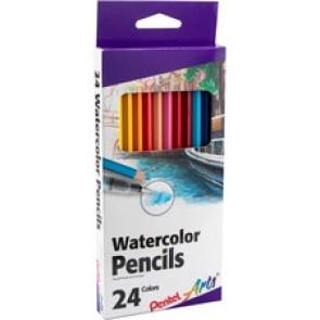 Pentel Arts Watercolor Pencil Set - Assorted Colors, 24-Pack - Assorted Lead - Wood Barrel - 24 / Pack
