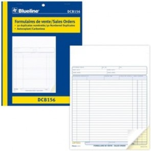 "Blueline Sales Orders Book - 50 Sheet(s) - 2 PartCarbonless Copy - 11"" x 8.50"" Form Size - Letter - Blue Cover - Paper"
