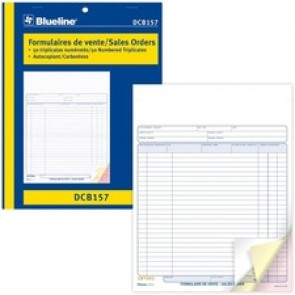 "Blueline Sales Orders Book - 50 Sheet(s) - 3 PartCarbonless Copy - 11"" x 8.50"" Form Size - Letter - Blue Cover - Paper"
