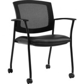 "Offices To Go Ibex | Upholstered Seat & Mesh Back Guest Chair on Casters - Luxhide, Bonded Leather Seat - Mesh Back - 25.3"" Width x 24"" Depth x 34.5"" Height"