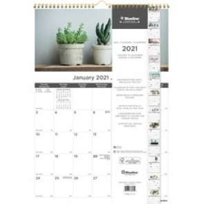 Blueline Monthly Wall Calendar 2021, Succulent Plants