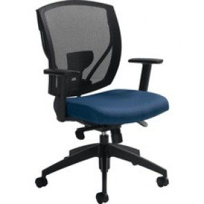 Offices To Go Ibex   Upholstered Seat & Mesh Back Synchro-Tilter - Admiral Fabric Seat - Black Back - 5-star Base