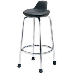 Global Minotaur Industrial Stool - Black Polyurethane Seat - 1 Each