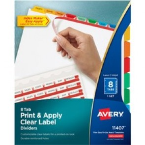 Avery Index Maker Print & Apply Clear Label Dividers with Traditional Color Tabs