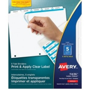 Avery Index Maker Print & Apply Clear Label Dividers with White Tabs