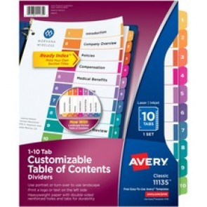 Avery&reg  Ready Index Customizable Table of Contents Classic Multicolor dividers
