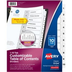 Avery&reg  Ready Index Customizable Table of Contents Black & White dividers
