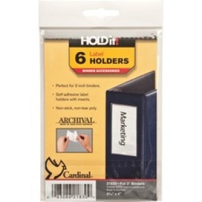 "Cardinal Label Holder, 2-3/16"" x 4"", 6/Pk, Clear"
