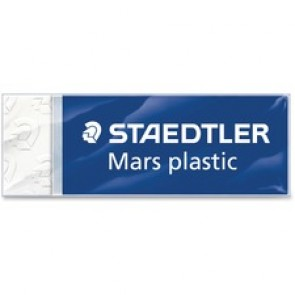 "Staedtler Plastic Eraser, Latex-Free, With Sleeve, 2-1/2"" x 7/8"" x 1/2"", White"